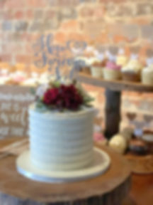 Single tier pleated buttercream wedding