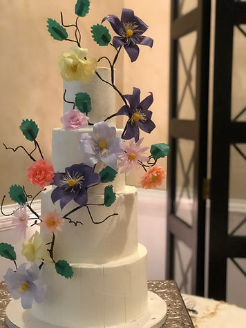 Gorgeous wafer paper wedding cake Roanoke VA Virginia The Maridor wedding venue wedding cake bakery wedding cake baker