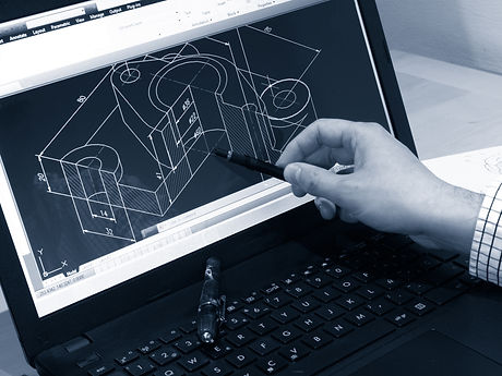 designer working on a cad blueprint mono