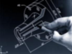 engineer working on cad blue print monoc
