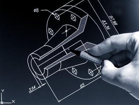 engineer working on cad blue print monoc