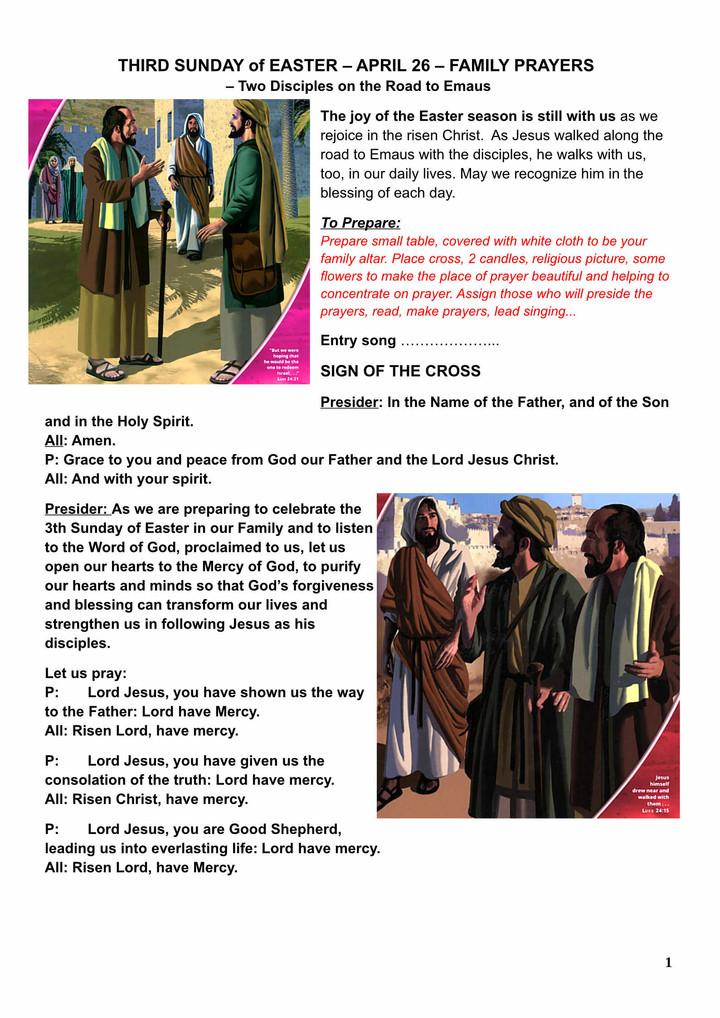 3rd Sunday of Easter - family prayers