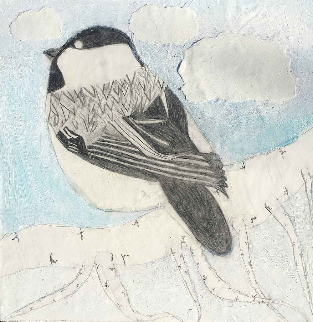 Hana's Bird - Graphite, gesso and collage