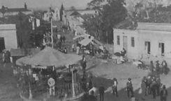 Antigo coreto da Igreja Matriz, ao fundo a Igreja da Nossa Senhora do Rosário dos Homens P
