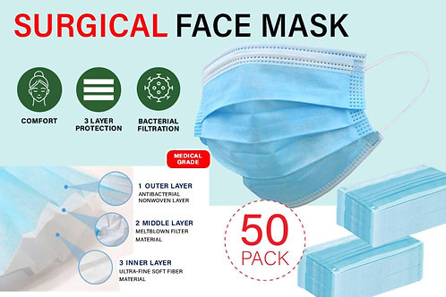 50pk - 3ply Disposable Mask