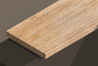 golden sienna travetine vein-cut chamfered steps and copings