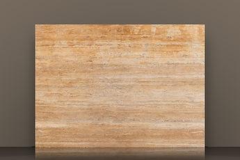 golden sienna filled and honed travetine vein-cut slab