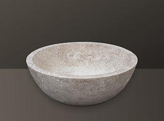 light beige filled travertine oval basin s01