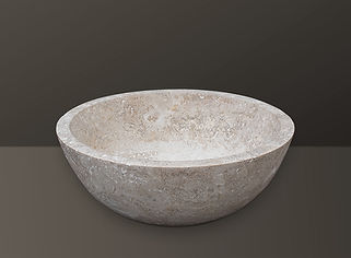 Light Beige Filled Travertine Oval Basin S01