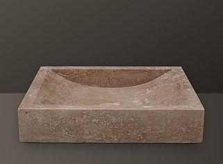 noce rectangular travertine basin