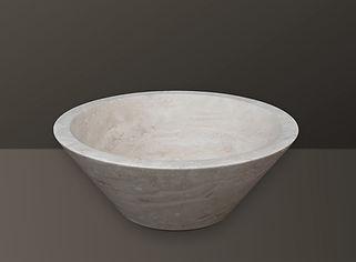 light beige filled travertine oval basin s05
