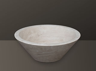 Light Beige Filled Travertine Oval Basin S05