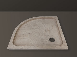 Classic Filled Travertine Semi-round Showertub