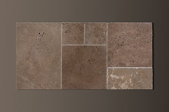 NOCE FRENCH-PATTERN TRAVERTINE CHISELED-EDGE TILES