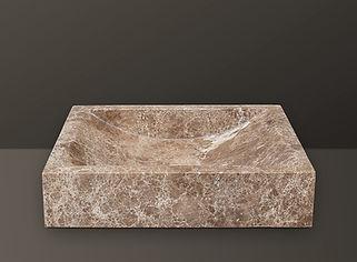 emperador light polished marble rectangular basin