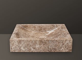 Emperador Polished Marble Rectangular Basin