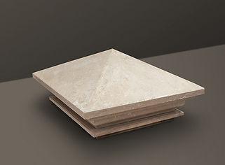 beige pyramid brushed limestone pier cap