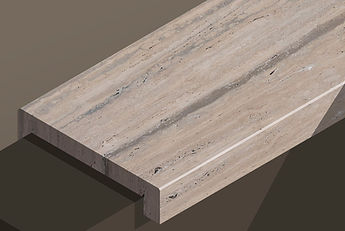 romano silver honed travertine vein-cut downstand steps and copings