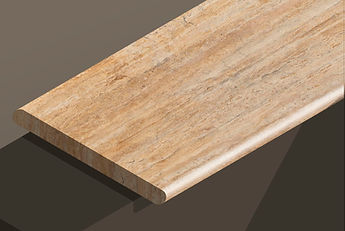 golden sienna travetine vein-cut bullnose steps and copings
