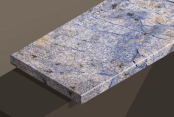 azul bahia polished granite chamfered steps and copings
