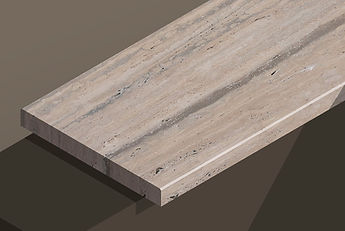 romano silver honed travertine vein-cut chamfered steps and copings