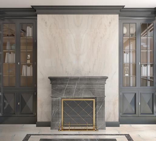 Ruschita + Sonic Grey Marble Fireplace