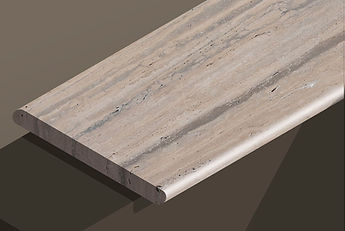 romano silver honed travertine vein-cut bullnose steps and copings