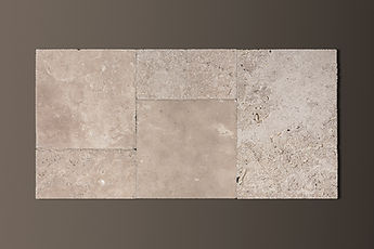 classic french-pattern travertine chiseled-edge tiles