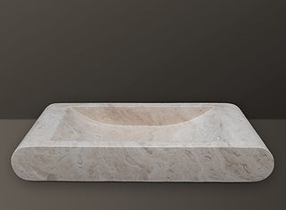 light beige filled and bullnose travertine basin