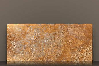 golden sienna cross-cut polished travetine slab