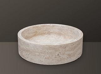 light beige filled travertine oval basin s06