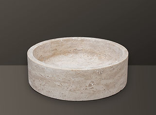 Light Beige Filled Travertine Oval Basin S06