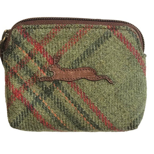 Hare applique Islay Tweed and Leather Coin purse