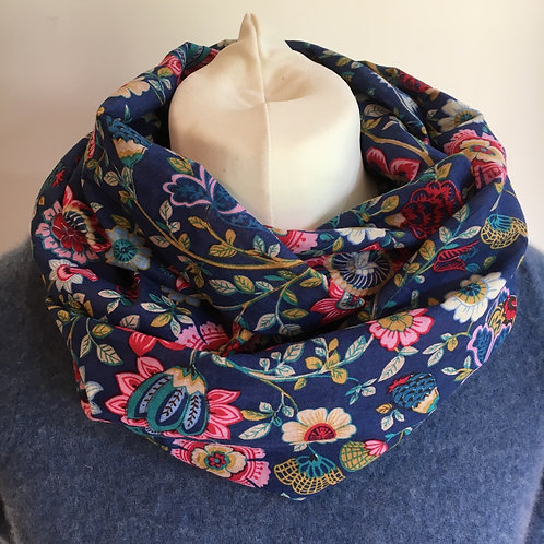 Lightweight cotton lawn double loop scarf, handmade