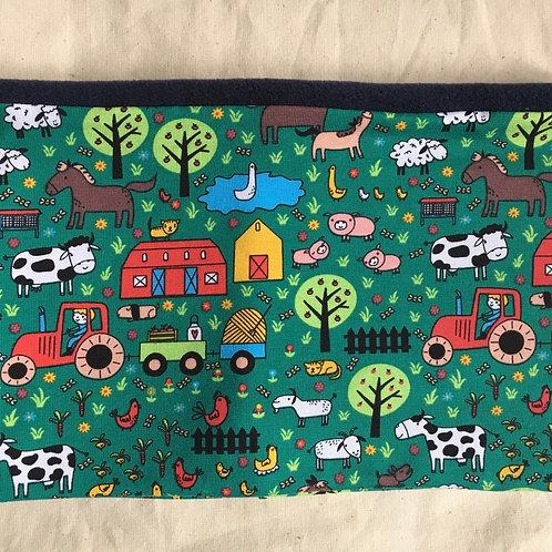 Hand made child's farm print snood navy fleece lined.