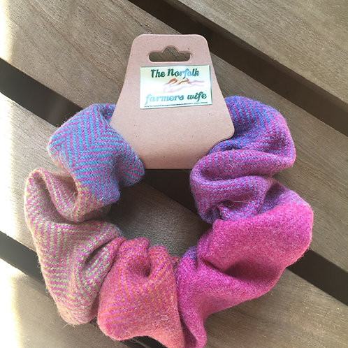 Rainbow tweed scrunchie
