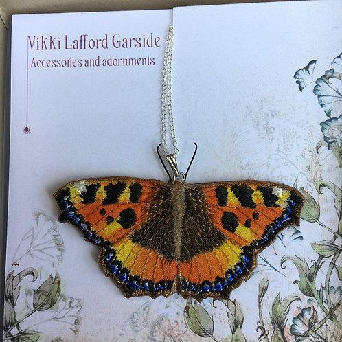 Vikki Lafford Garside tortoiseshell pendant embroidered , FREE Postage