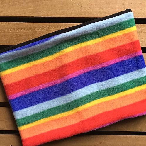 Rainbow striped fleece snood lined with black polar fleece