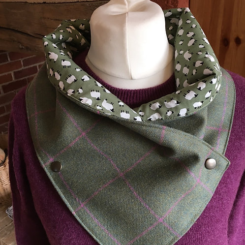 British tweed neck wrap scarf lined with sheep print cotton