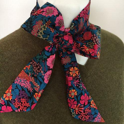 Handmade cotton Liberty skinny scarf neck scarf, hair scarf, bow tie