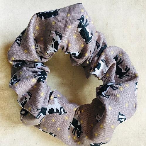 Cow print scrunchie handmade