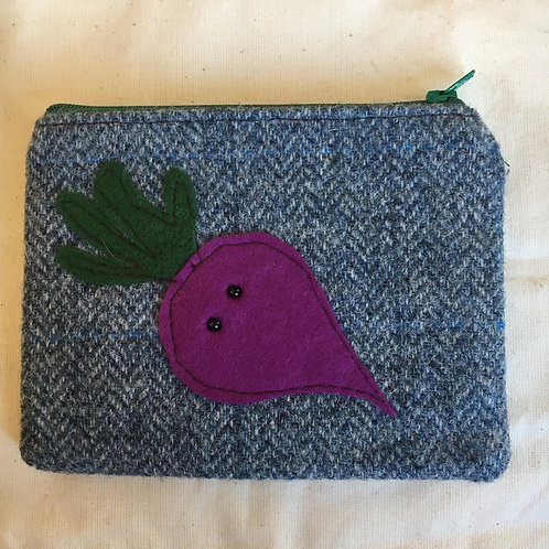Handmade Tweed beetroot purse