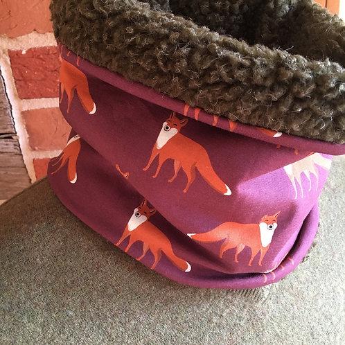 Gorgeous fox print snood lined with khaki Sherpa fleece