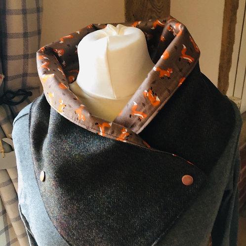 Fox print tweed wrap neck scarf