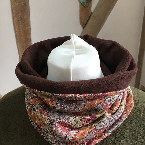 Liberty dufour jersey snood lined with chocolate brown fleece
