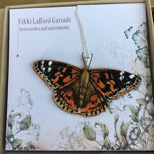 Vikki Lafford Garside painted Lady butterfly pendant embroidered,  FREE POSTAGE