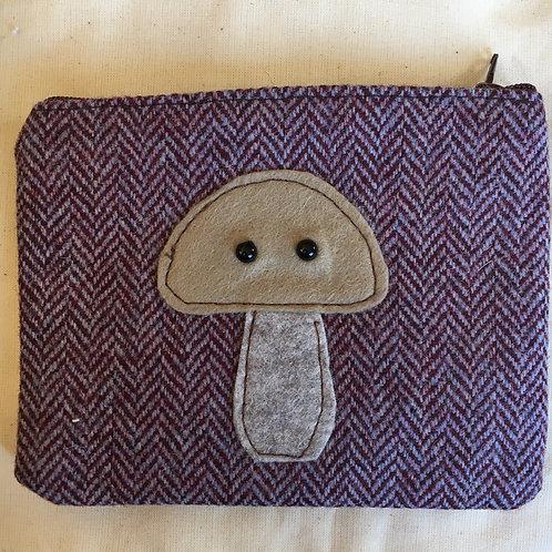 Handmade Tweed Mushroom purse
