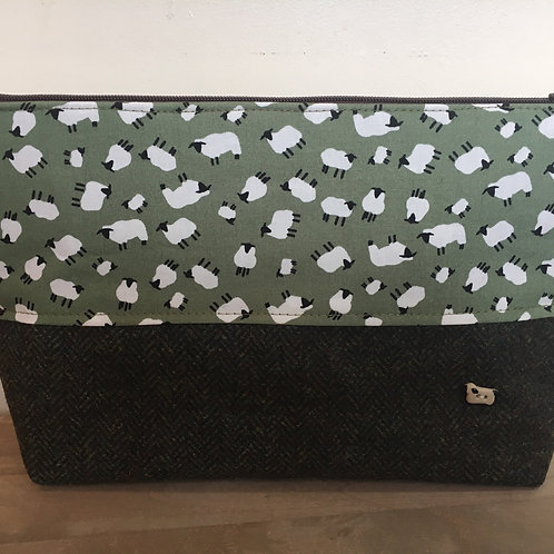 Handmade Tweed sheep bag with sheep lining