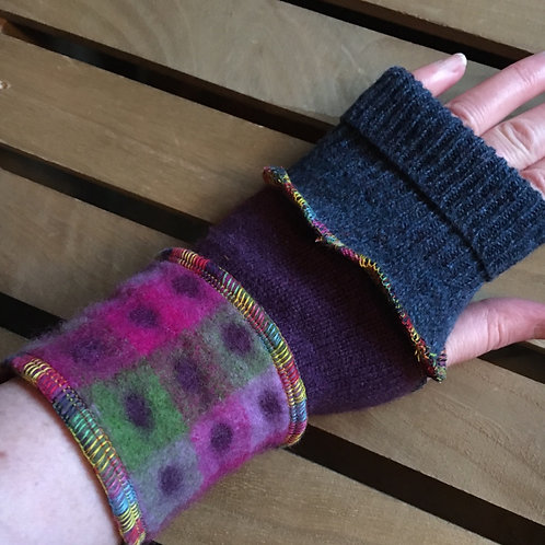Reloved Woollies wristwarmers made from recycled wool