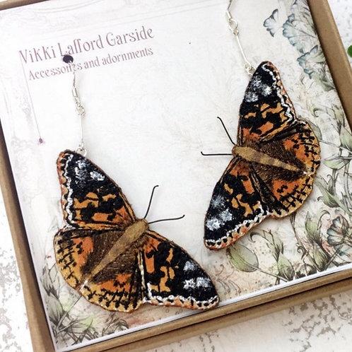 Vikki Lafford Garside painted lady earrings embroidered art